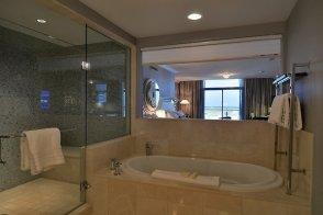Bathroom in the Terrace Studio with two queen beds