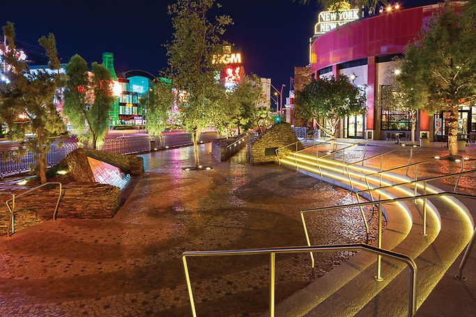 Plaza with trees along Las Vegas Boulevard