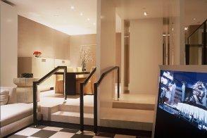 Living room steps in two-bedroom Skyloft