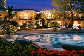 Evening pool cabanas